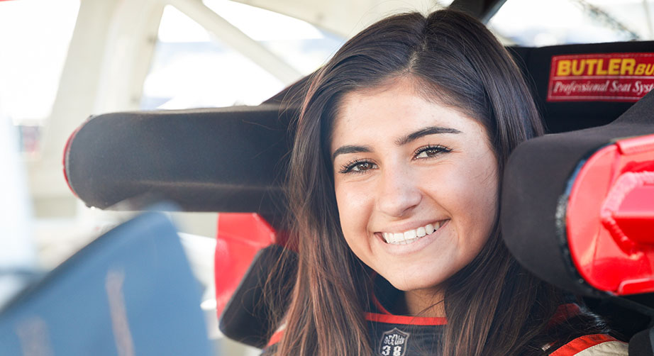 BAKERSFIELD, CA - OCTOBER 27: Hailie Deegan smiles for a photo ahead of her race at Kern County Raceway Park on October 27, 2018 in Bakersfield, California. (Photo by Meg Oliphant/Getty Images) | Getty Images